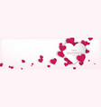 horizontal background design with pink hearts vector image vector image