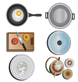 Kitchen equipment top view set 10 vector image