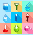 laboratory flask icons set flat style vector image
