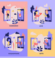 love chat online dating banners set vector image vector image