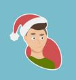 man wear santa hat sticker social media network vector image vector image