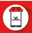 mobile phone silhouette sportman swimming vector image vector image