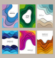 paper cut banners abstract origami cutting vector image