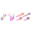 party hats and horn blowers with color stripes vector image vector image