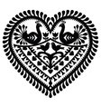 Polish folk art heart pattern for Valentines Day vector image