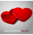 realistic blank red opened heart shape box For vector image