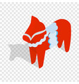 red wooden horse isometric icon vector image vector image