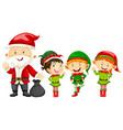 Santa and elves for christmas vector image vector image
