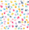seamless pattern print of kids hands vector image vector image