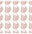 seamless pattern with a mug of foamy beer vector image