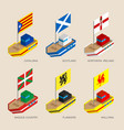 set of isometric ships with flags of europe vector image vector image