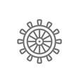 ship steering wheel rudder helm line icon vector image vector image