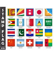 stamp with official country flag set 5 12 vector image
