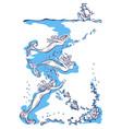 three mermaids swim to the ship vector image vector image