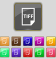 TIFF Icon sign Set with eleven colored buttons for vector image vector image