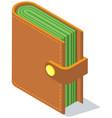 wallet with money fat purse vector image vector image