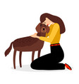 woman hugging dog vector image vector image