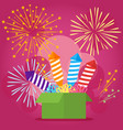 with festive box fireworks vector image