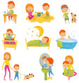daily routine of little boy kid eating breakfast vector image