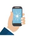 Hand Holding Broken Screen Phone vector image