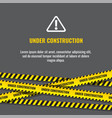 under construction website page with black and vector image
