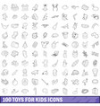 100 toys for kids cons set outline style vector image vector image