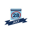 28 july calendar with ribbon vector image vector image