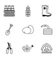 agriculture icons set outline style vector image vector image