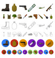 Army and armament cartoon icons in set collection