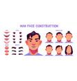 asian man face construction avatar creation set