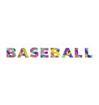 baseball concept retro colorful word art vector image vector image