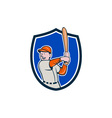 Baseball Player Batting Stance Crest Cartoon vector image vector image