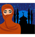 beautiful muslim women on mosque background vector image vector image