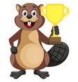beaver with trophy on white background vector image vector image