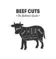 beef cuts butchers guide meat shop label farm vector image