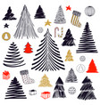 big set of christmas tree doodle hand drawn vector image