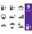 black electric car icons set vector image vector image