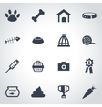 black pet icon set vector image vector image