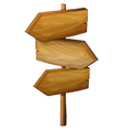 Blank wooden arrow signboard vector image
