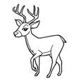 cartoon cute deer coloring page vector image vector image