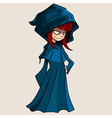 cartoon girl in a raincoat with a hood vector image vector image
