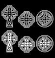 celtic irish cross design set vector image