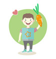 cheerful little boy with orange carrot vector image