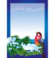 Christmas frame with bullfinch vector image