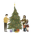 family dress up christmas tree cartoon vector image