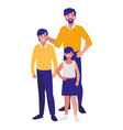 father with son and daughter characters vector image