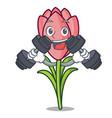 fitness crocus flower character cartoon vector image vector image