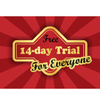Free 14-day trial label in retro style vector image