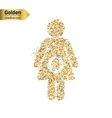 Gold glitter icon of pregnant isolated on vector image
