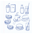 Hand drawn outlines of food vector image vector image